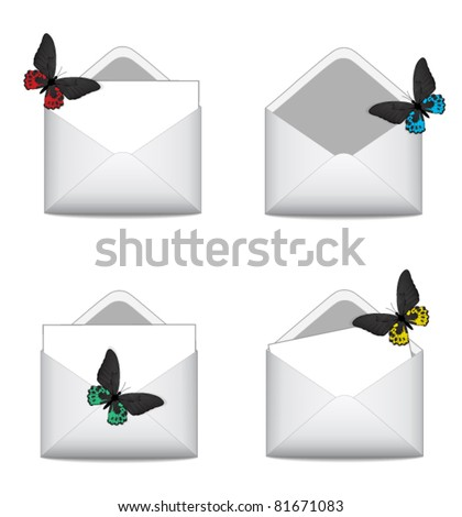 Set e-mail icon with butterfly - stock vector