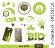 set  eco and bio icons, vector illustration - stock photo
