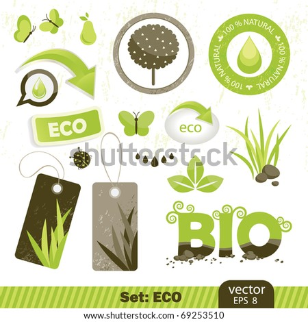 set  eco and bio icons, vector illustration - stock vector