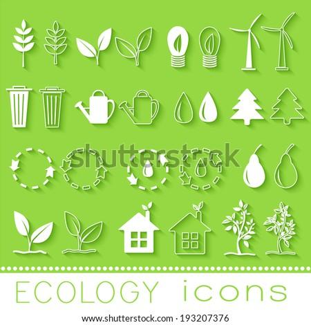 set eco icon on white background. Vector illustration design - stock vector