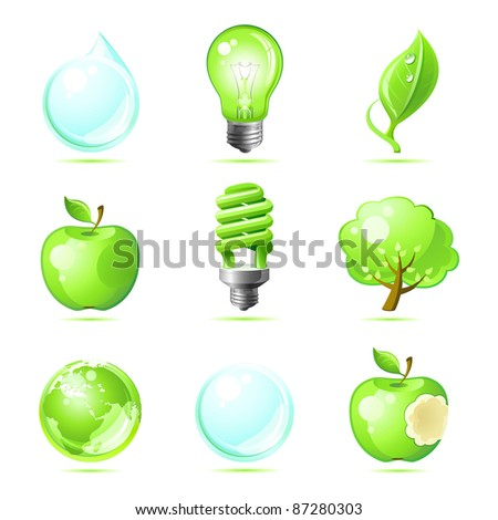 Set eco icons for your ecological design . Eco concept . - stock vector