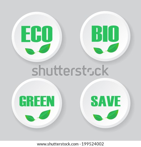 Set Ecology Icons. Green Concept. Abstract Template Illustration. Ecological Vector Icon. - stock vector
