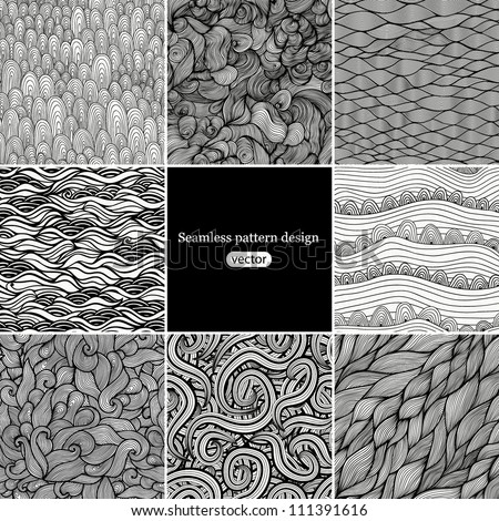 Set 2 Eight black and white wave patterns (seamlessly tiling).Seamless pattern can be used for wallpaper, pattern fills, web page background,surface textures. Gorgeous seamless wave background - stock vector