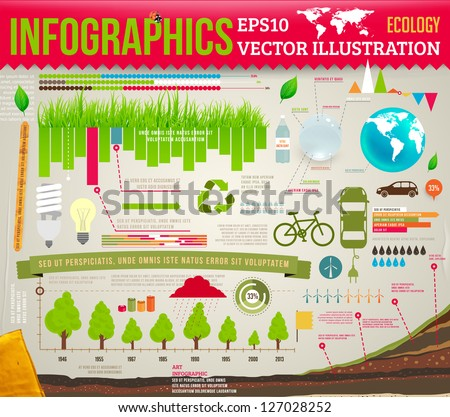 Set elements of ecological infographics for eco design with trees, grass, water, lamps and leafs, eps 10 vector illustration