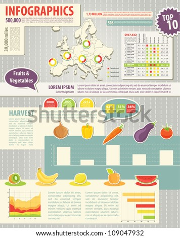 Set elements of infographics and food icons. Map of Europe and Information Graphics - stock vector