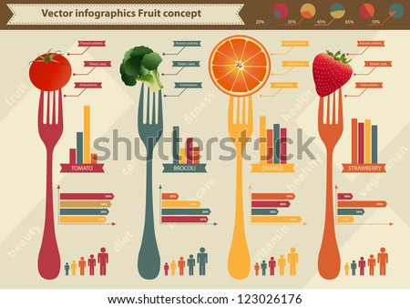 Set elements of infographics and Fruit Tomato Brocoli Orange Strawberry, and Information Graphics - stock vector
