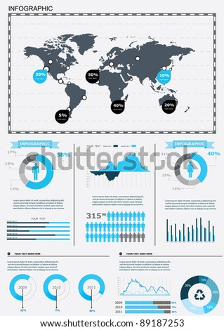 World people infographics human infographic on vectores en stock set elements of infographics world map and information graphics gumiabroncs Image collections