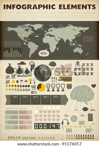 Set elements of infographics. World Map and Information Graphics