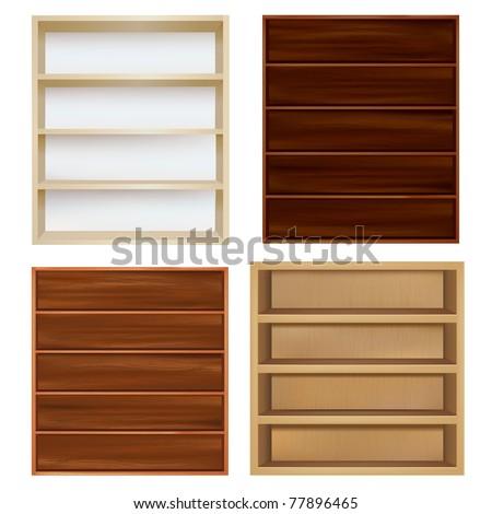Set Empty Bookshelf, Isolated On White Background, Vector Illustration - stock vector