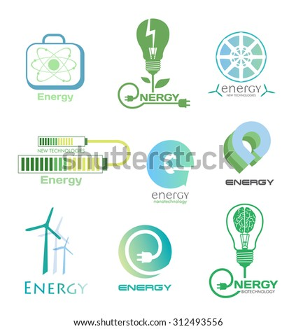 Set energy logos and emblems. Design elements and symbols of power plant, electricity, wind turbine, atom, ecology conservation. Vector energy logo isolated on white background. - stock vector