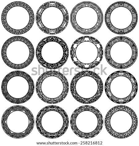 Set ethnic circle reminiscent of the Aztec ornament. - stock vector