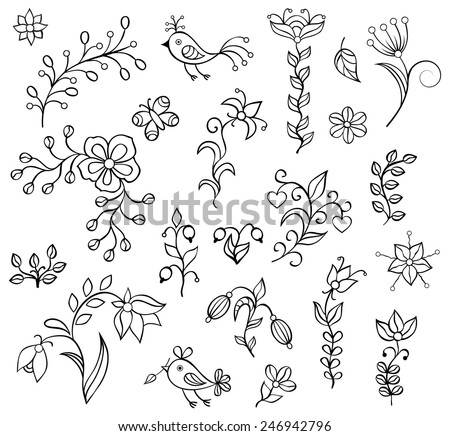 Set ���®f hand drawn flowers on white background.Elements for your design - stock vector