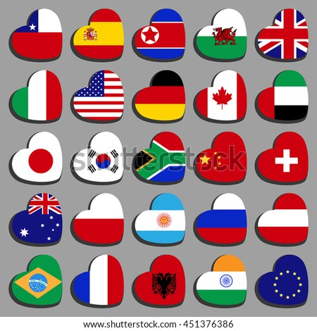 Set Famous country flags in the shape of a heart, at an angle. With the shadow on a gray background.
