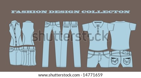 set fashion design - stock vector