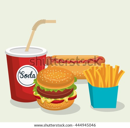 set fast food isolated icon design, vector illustration  graphic