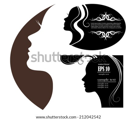 SET female silhouette. vector images and emblems or spa and beauty salons - stock vector