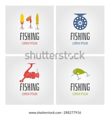 Set. Fishing. Logo and design element - stock vector
