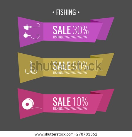 Set. Fishing tackle. Hooks, fishing line, lure, bait. Vector elements, eps 10. Icons and illustrations for design, website, infographic, poster, advertising. - stock vector
