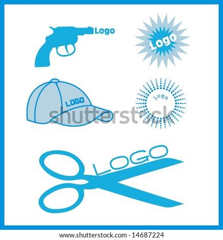 set five icons logo - stock vector