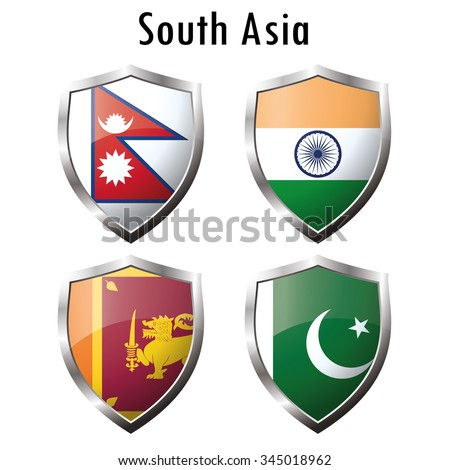 Set flag icon.India, Pakistan, Sri Lanka, Nepal. Vector illustration
