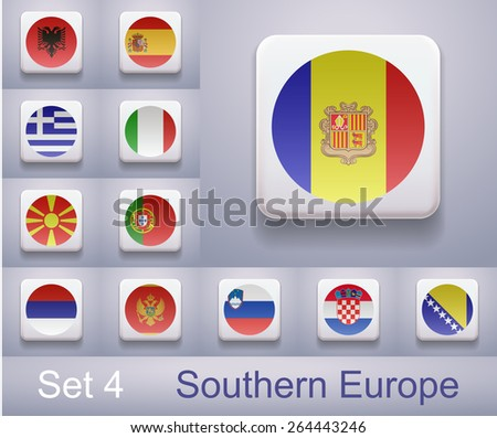 Set 4.  Flags in Southern Europe. Flags in the form of computer-button, collage, lightbox. Illustration. Image. Vector. Icon.  - stock vector