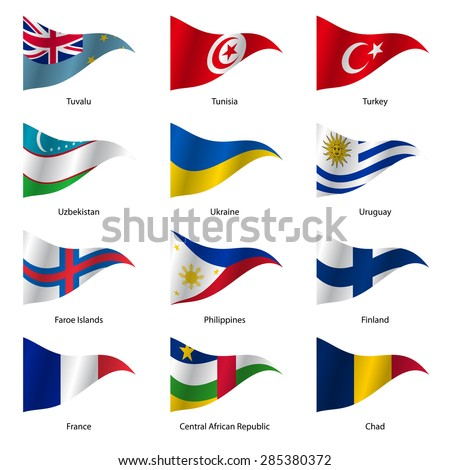Set  Flags of world sovereign states triangular shaped. Vector illustration.  - stock vector