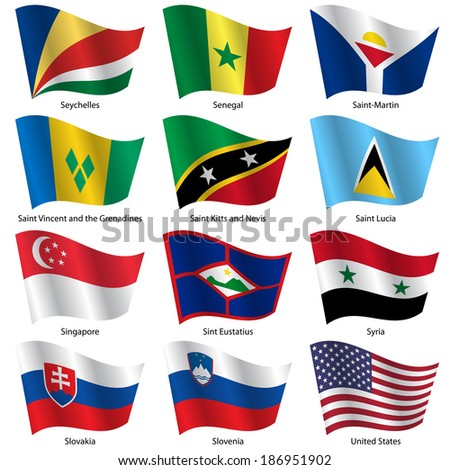 Set  Flags of world sovereign states. Vector illustration. Set number 14. Exact colors. Easy changes. - stock vector