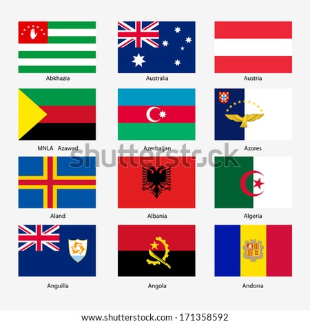 Set  Flags of world sovereign states. Vector illustration. Set number 1. Exact colors. Easy changes.