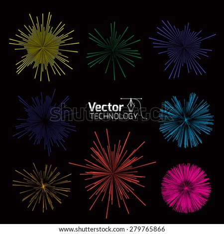 Set flashes of fireworks for processing holidays - stock vector