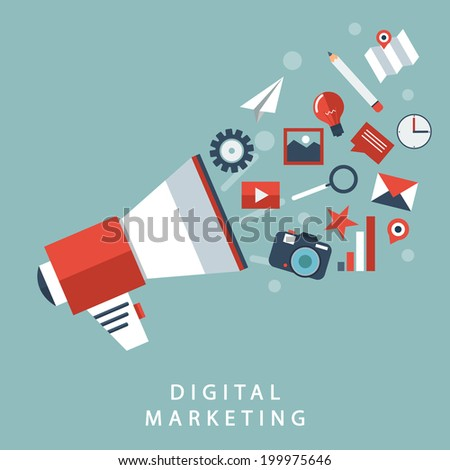 set flat design digital marketing , vector . - stock vector