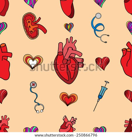 set flat human organs icons illustration concept. Vector background design - stock vector