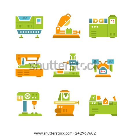 Set flat icons of machine tool isolated on white. Vector illustration - stock vector