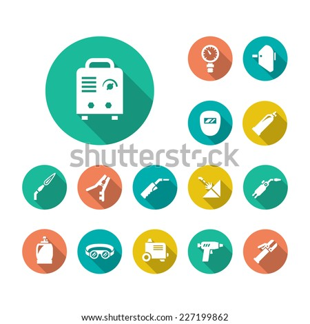 Set flat icons of welding isolated on white. Vector illustration - stock vector
