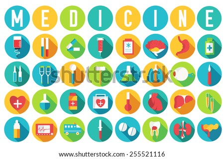 set flat medical equipments and human anatomy body organs icons illustration concept. Vector background design. Colorful template for you design, web and mobile applications - stock vector