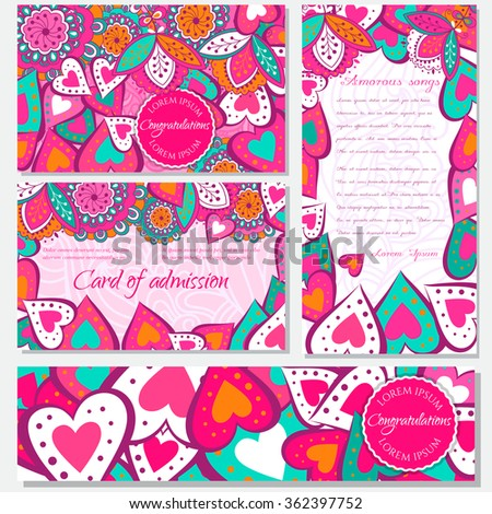 Set Floral card  design, flowers, leaf , herbs  doodle elements. Vector decorative invitation. childish style. elements are not cropped and hidden under mask. - stock vector