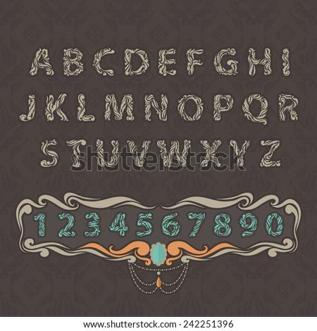 Set floral font. Ornament letter on decoration vintage seamless background. - stock vector