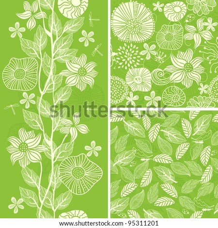 set floral seamless background - stock vector