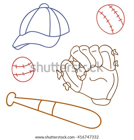 set for baseball, glove, cap, bat, game, sport - stock vector