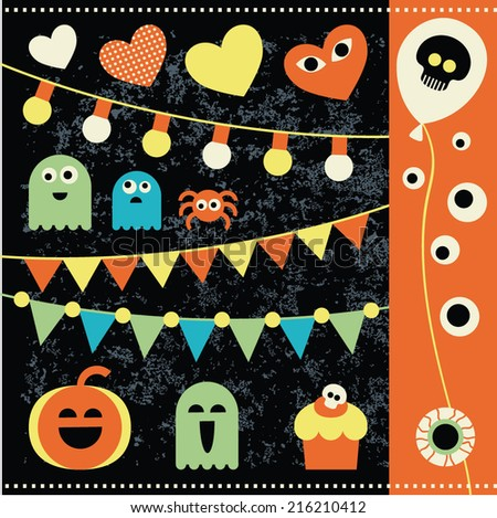 Set for Halloween with characters and objects. Ghosts, pumpkin, streamers, garlands, balloons, dessert, spider for your design. - stock vector