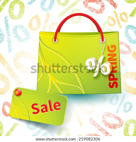 Set for promotion: bright green shopping bag with advertising seasonal spring sell-out and fob as a sign of percent and sale label on seamless background with percent symbols - stock vector