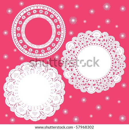 Set for round lace doily. Vector illustration. Background for celebrations, holidays, sewing, arts, crafts, scrapbooks, setting table, cake decorating. - stock vector