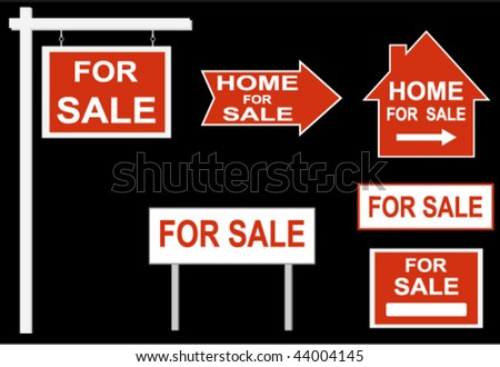 "Set: ""For SALE"" sign - stock vector"
