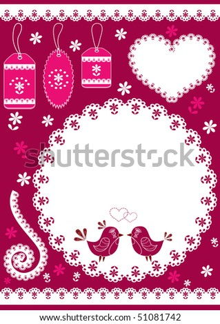 Set for scrapbook with doily. Vector illustration. - stock vector