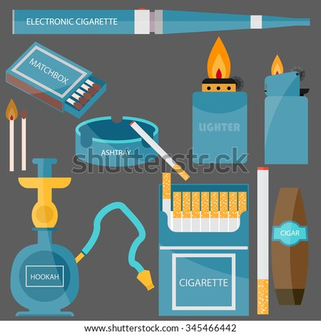 set for Smoking.flat design, lettering. cigarette, cigar, ashtray, lighter, hookah, cigarettes, electronic cigarette and more - stock vector