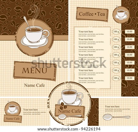 set for the cafe menu, business cards and coasters for drinks - stock vector