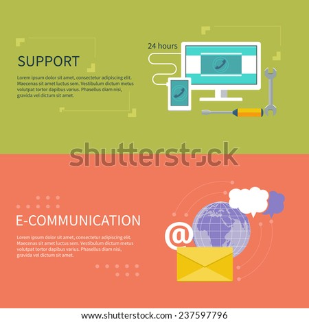 Set for web and mobile applications of office work. Operator with different item icons such as network, 24h, info, message. Support concept and e-communication in flat design - stock vector