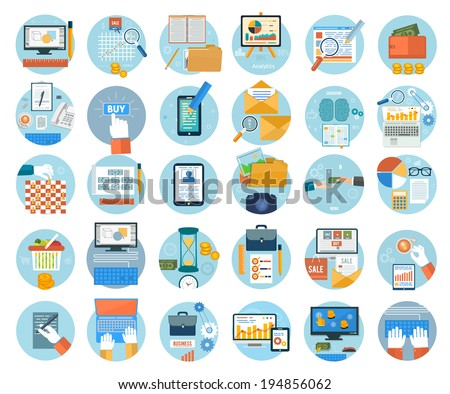 Set for web and mobile applications of online purchase, engineering, social media, seo search optimization, pay per click, analysis of documents, online shopping concepts items icons in flat design - stock vector