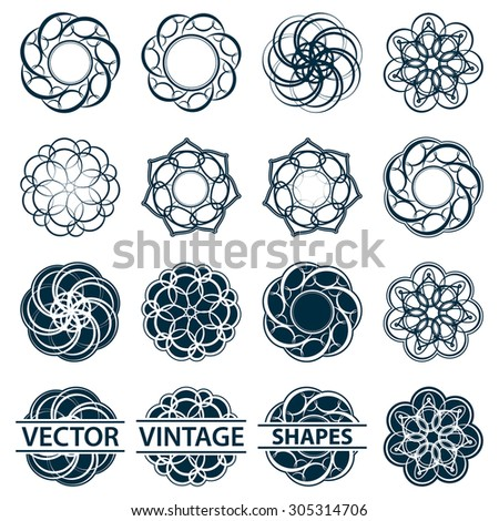 Set fractal and swirl shape element. Vintage monochrome different objects. Vector decorative sample. Diaphragm, border, outline blue color in white background - stock vector