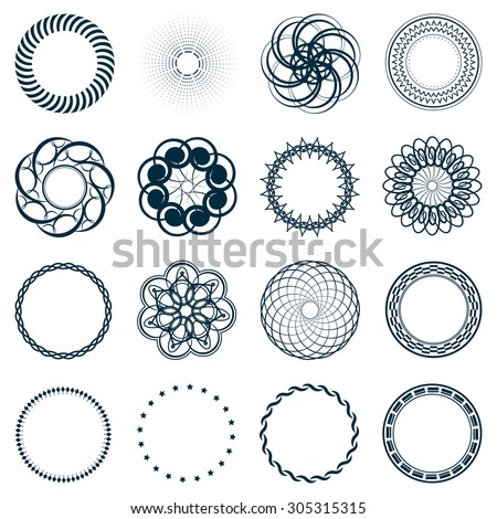 Set Fractal And Swirl Shape Element Vintage Monochrome Different Objects Vector Decorative Sample