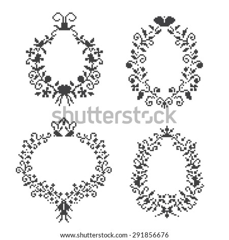 set frame pixel art, different frame with crown and swirls, embroidery, isolated image on a white background, vector design - stock vector